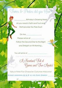 Free peter pan and tinkerbell invite template fairies for Peter pan invitation template