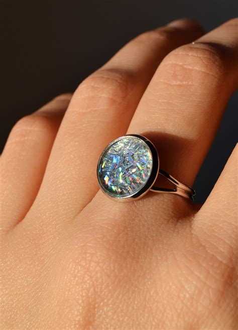 Sparkling Iridescent Ring - Glitters And Glass Cabochon, Adjustable on Luulla