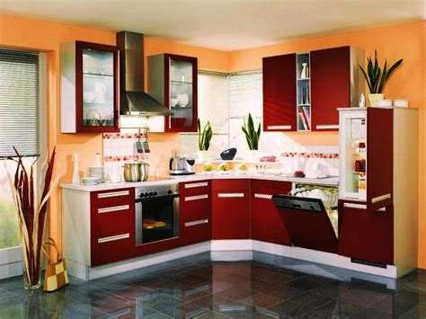 Two Tone Kitchen Cabinets Orange Color for Small Kitchen