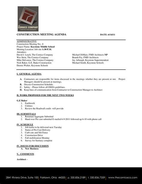 construction meeting agenda templates