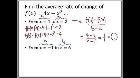 College Algebra Brainstorming Average Rate Of Change Youtube