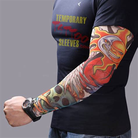 men women nylon tattoo arm sleeves elastic cool uv sun