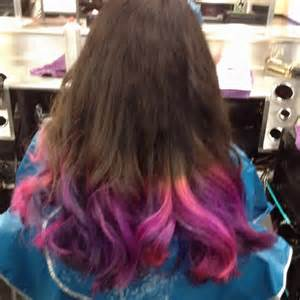 Blue and Brown Hair with Purple Tips
