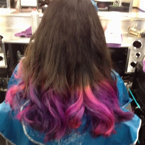 Pink Blue And Purple Tips On Dark Brown Hair Pink