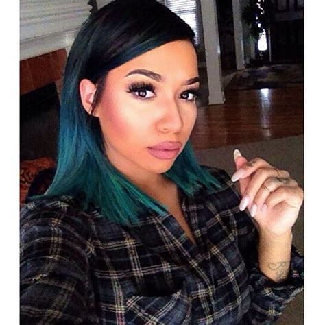 Short Hair Hairstyle Ombre Dip Dye Blue Green Teal Dope