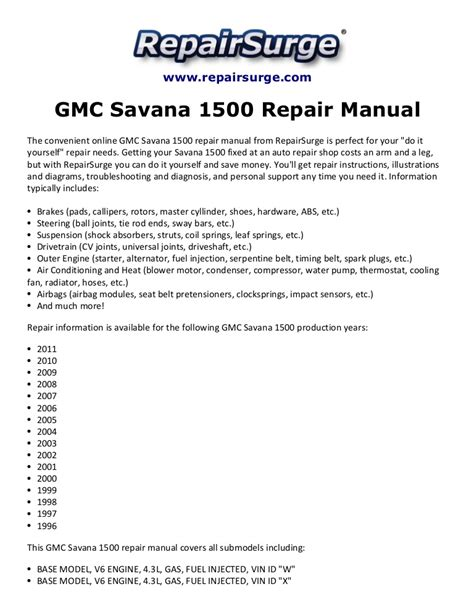 best auto repair manual 1996 gmc savana 1500 transmission control gmc savana 1500 repair manual 1996 2011