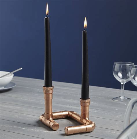 industrial candle holder industrial twin copper piping candle holder by lime lace notonthehighstreet com