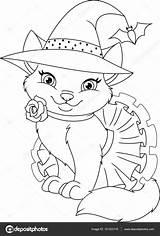 Colorare Strega Immagini Coloring Cat sketch template