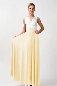 Two colors convertible bridesmaid dresses ivory and light ...