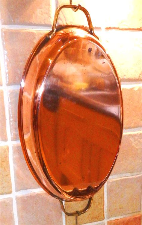 wagner large  cm oval stainless steel lined copper roasting pan  twin brass handles sold