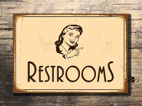 Etsy Vintage Bathroom by Restroom Sign Restroom Signs Vintage Style By