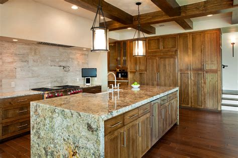 hanging kitchen lights island kitchen exposed beams waterfall granite countertops