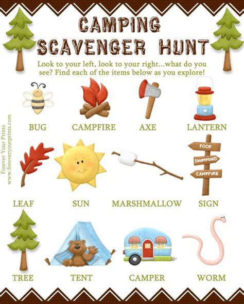 camping scavenger hunt  special offer