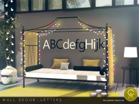 Home Decor Sims 4 Cc : Letters By Pralinesims
