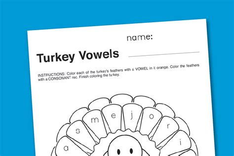 thanksgiving vowels worksheet paging supermom