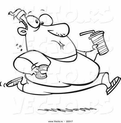 Eating Outline Coloring Junk Fat Cartoon Running