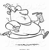 Eating Outline Coloring Junk Fat Cartoon Running Leishman Ron Toonaday Health sketch template