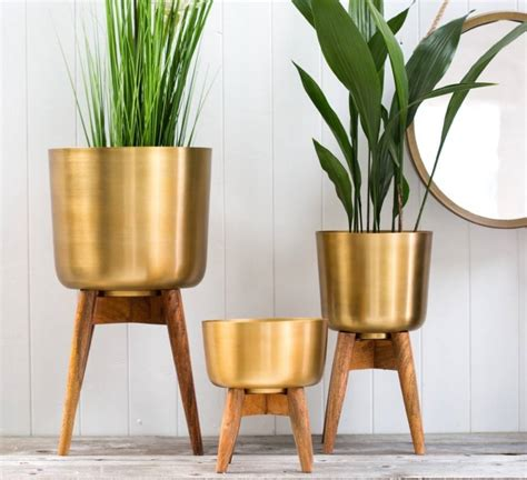 high plant stand brass plant pot on a wooden stand by the forest co
