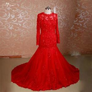 rsw775 long sleeves beaded mermaid muslim beautiful red With red wedding dresses for sale