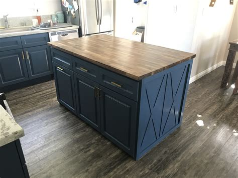 building   butcher block kitchen island  steps