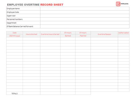 employee overtime record sheet template  excel