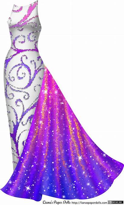 Gown Purple Gowns Paper Dolls Pink Liana