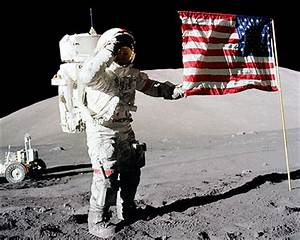Apollo 17 Gene Cernan Flag Salute on Moon Photo Print for Sale