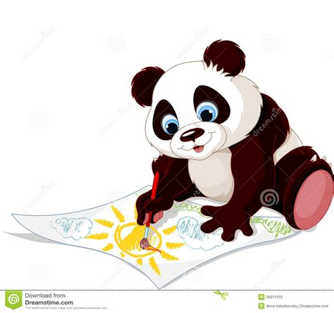 cute panda drawing picture stock vector illustration