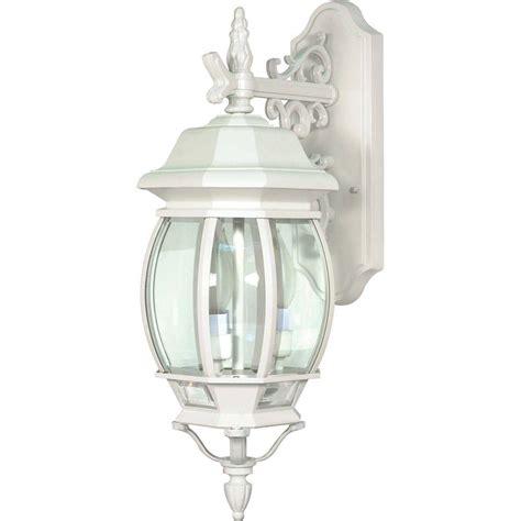 white lantern wall light glomar 3 light outdoor white wall lantern hd 891 the home depot