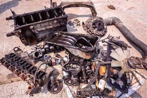 Disassembled Truck Engine, India