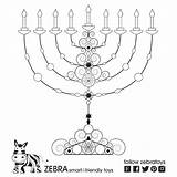 Coloring Jewish Hanukkah Menorah Printable Hebrew David Decorations Hanukiah Printables Blessing Simple Prayer Prayers Bit Radio Zebratoys Blessings sketch template
