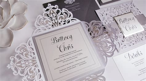 Elegant Wedding Invitations silver white wedding