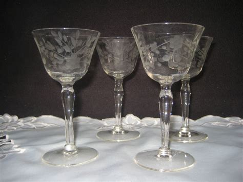 Antique Barware by Vintage Clear Etched Cordial Glasses Cordial And