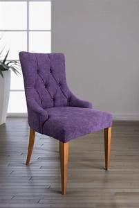 Chaise De Sejour : chaise de s jour capitonn e 4 pieds en merisier massif tiss violet meuble en merisier ~ Teatrodelosmanantiales.com Idées de Décoration