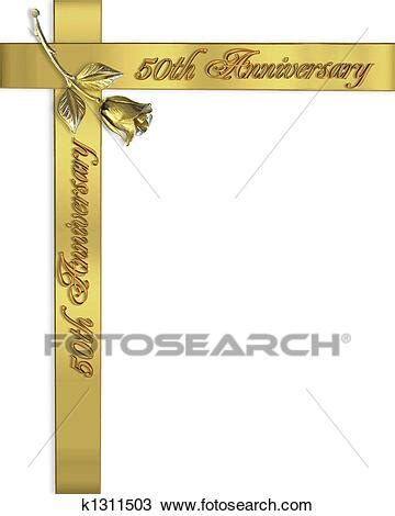 Drawing of 50Th Wedding Anniversary invitation k1311503