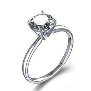 timeless four prong solitaire engagement ring in 14k white gold - Solitaire Engagement Rings