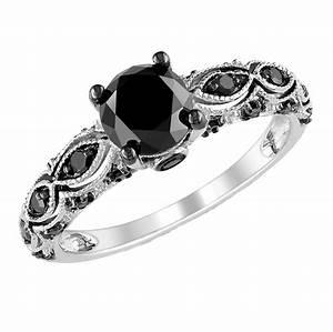 black diamond engagement rings for women wedding With white gold wedding rings with black diamonds