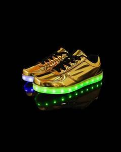 Uni High Tops Light Up Shoes Metallic Gold