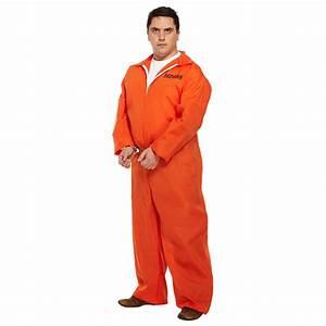 Prisoner Plus Size Fancy Dress Costume, Orange Convict ...