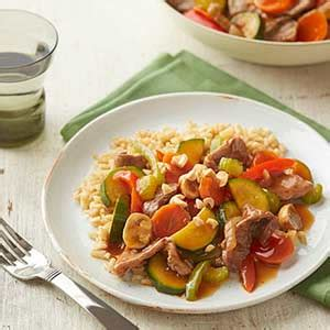 This delicious dish is low in carbohydrates and saturated fat. Beef-and-Vegetable Stir-Fry   Diabetic Living Online