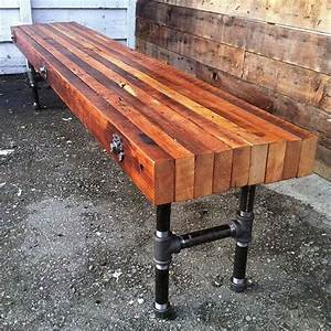 Hand Crafted Reclaimed Wood Bench With Industrial Cast
