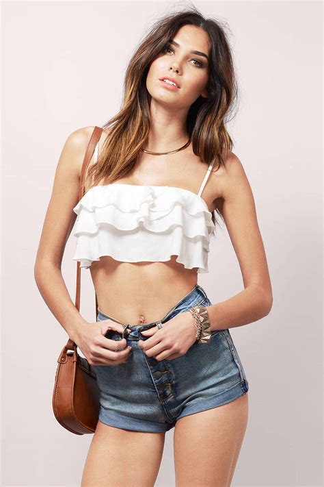 Best Sexiest by Ivory Crop Top White Top Spaghetti Top Ivory
