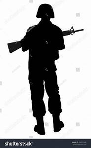 Army Soldiers Silhouette Vector Rifle Isolated Stock ...