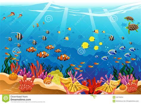 Marine Underwater Scene Stock Vector. Illustration Of Art