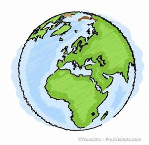 Earth drawing blue green ilustration vector   freebies ...