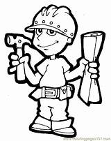 Coloring Carpenter Thank Job Worker Pages Sheets Worksheets Printable Card sketch template