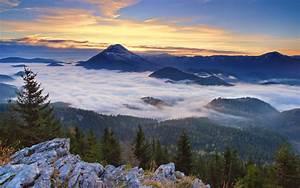nature, , landscape, , sunrise, , forest, , mountain, , clouds