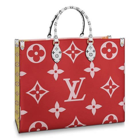 louis vuitton top handle tote onthego giant pink yellow logo monogram red canvas shoulder bag