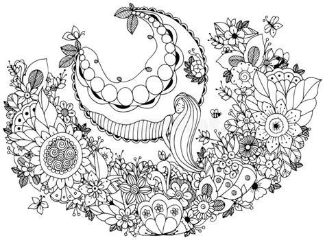 Vector Illustration Zen Tangle Girl On A Swing In The