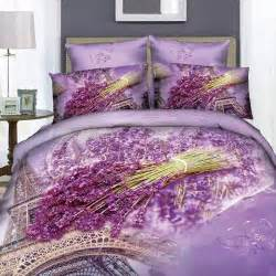 purple lavender 3d eiffel tower paris bedding set cotton